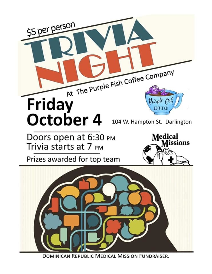 Trivia Night at Purple Fish Coffee Company Flyer