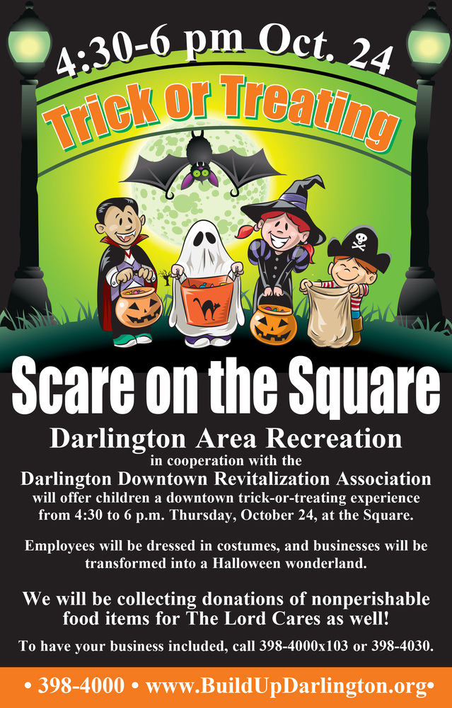 Scare on the Square will be from 4:30 to 6 p.m. Thursday, Oct. 24.