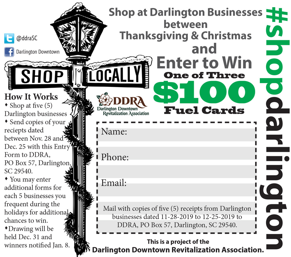 Shop Darlington for a chance to win $100