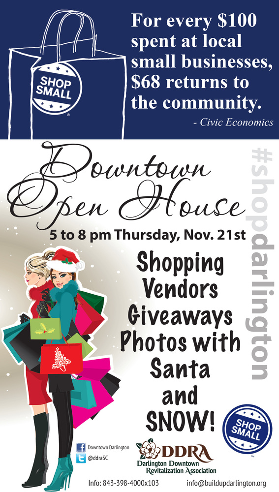 Shop Small Downtown Open House will be from 5 to 8 p.m. Thursday, Nov. 21.