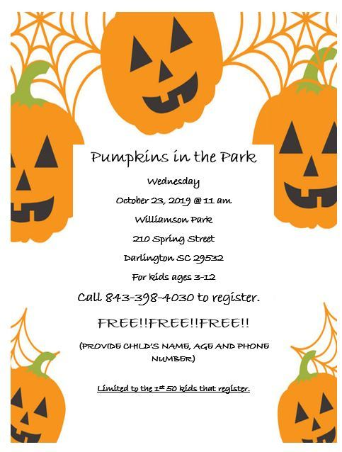 Pumpkins in the Park flyer Wednesday 11am