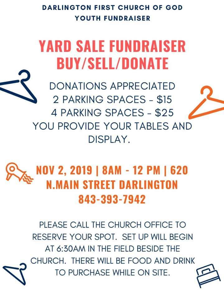 Yard Sale Saturday at First Church of God on North Main Street