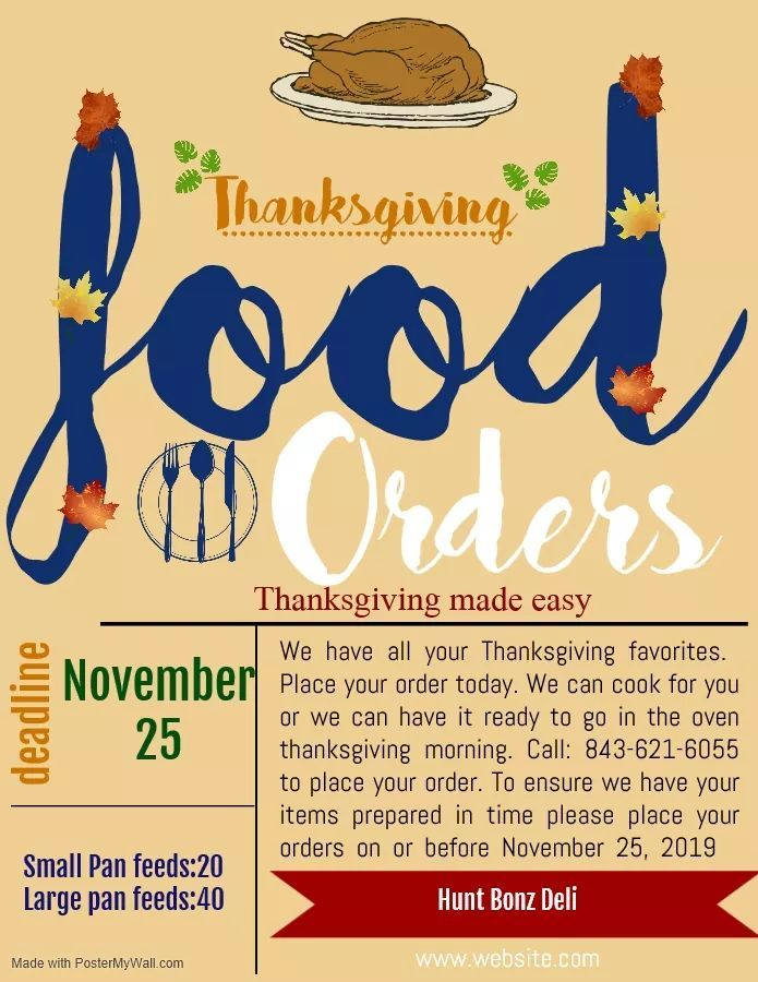 Order Thanksgiving at Hunt Bonz Deli