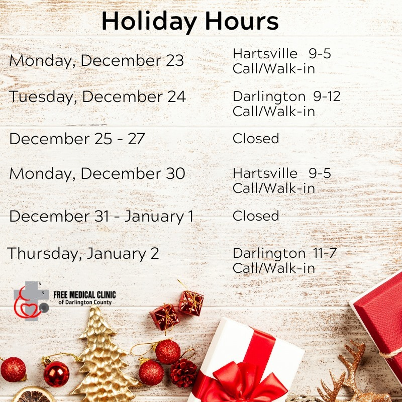 Holiday Schedule Free Medical Clinic