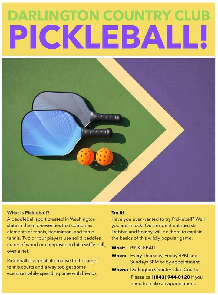 DCC Pickle Ball Thursday, Friday and Sundays